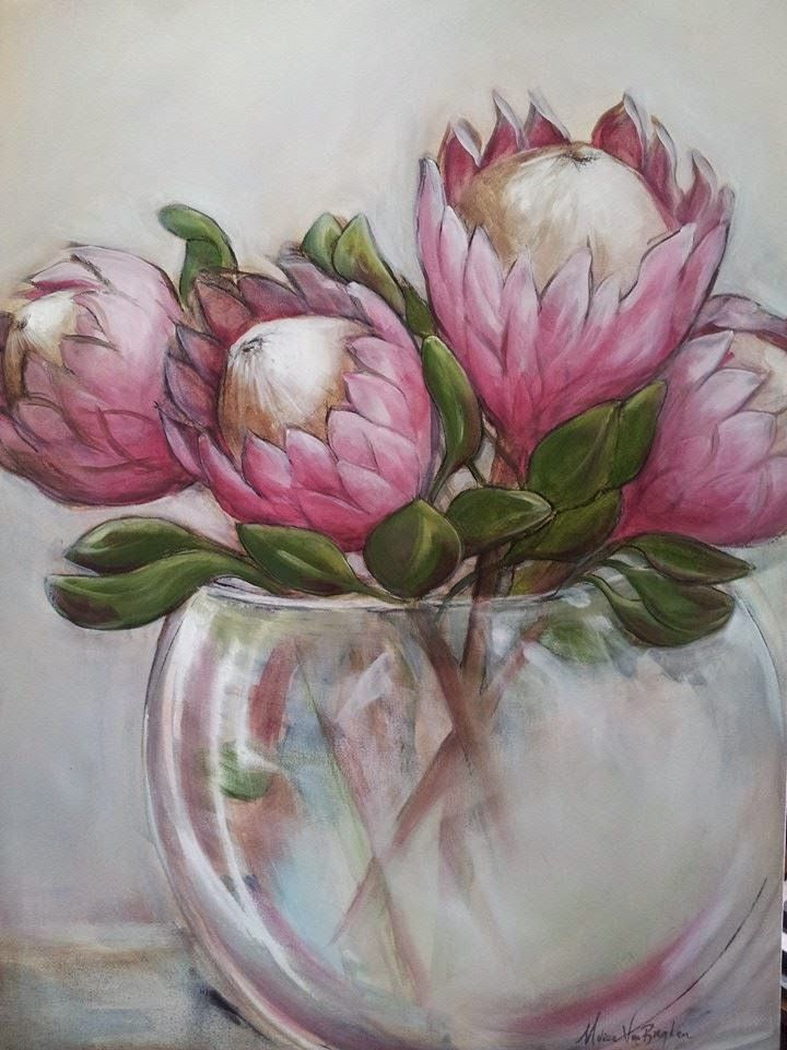 Protea Painting, Oil on canvas, Melissa Von Brughan