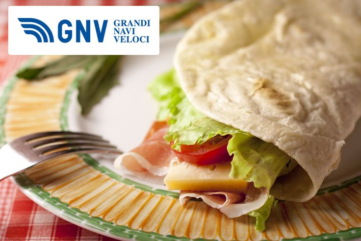 The #Italian #Piadina Romagnola is a thin #flatbread, typical of #Romagna region. The #dough is made with white #flour, #lard or olive #oil, #salt & #water.    Discover #GNV website here: http://www.gnv.it/en/