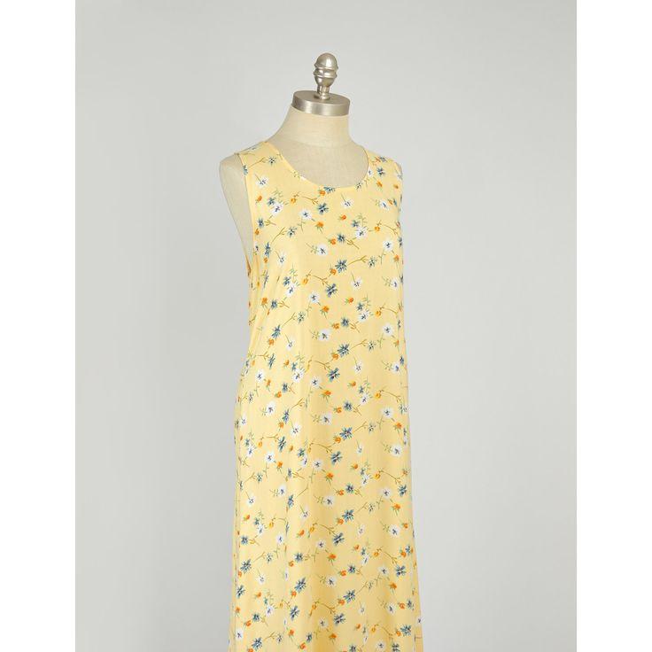 Vintage 1990s Dress - 90s Sunny Yellow Floral Print Dress Sundress - Long Loose Fit  #vintage #vintageclothing #vintagefashion #vintageclothes #vintagedress #vintagedresses #vintagesundress #90sdresses #1990sdresses #90sclothing #90sfashion #grunge #softg