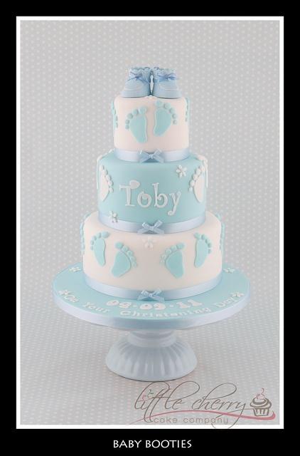 3 Tier baby booties baby shower cake