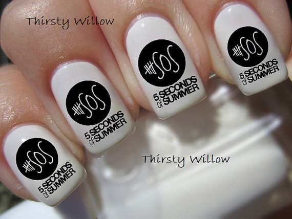 5SOS Nail Decals by ThirstyWillow on Etsy, $2.85
