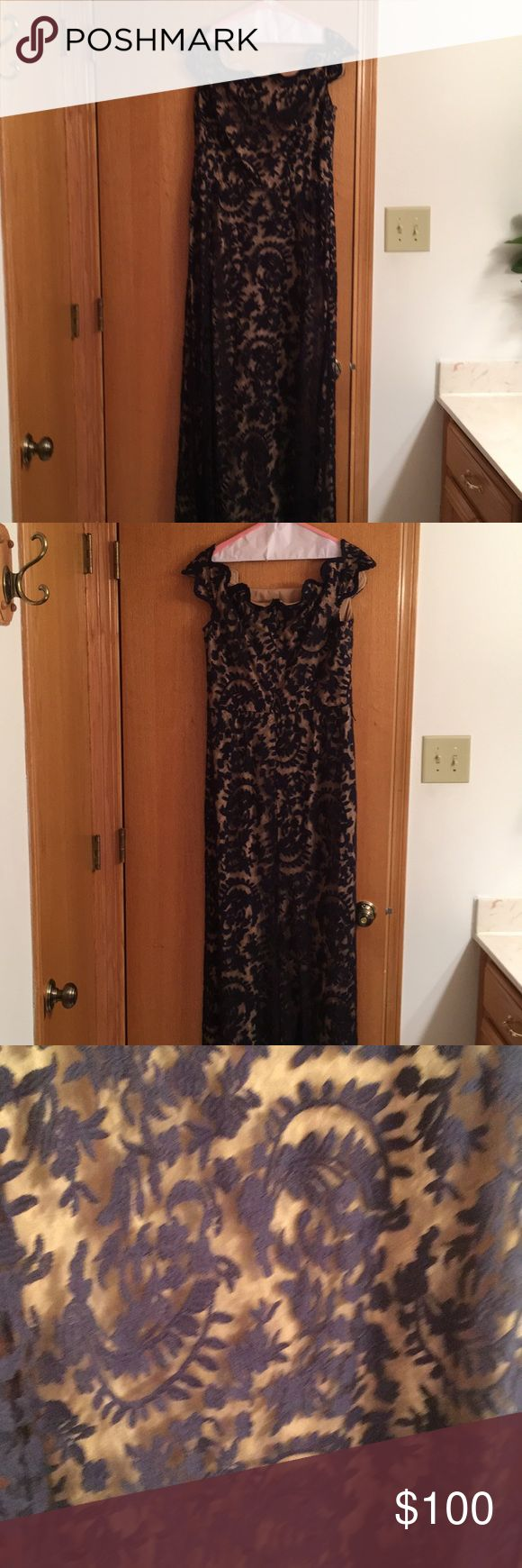 Cute lace dress for any occasion Dark blue and beige lace dress Tadashi Shoji Dresses Prom