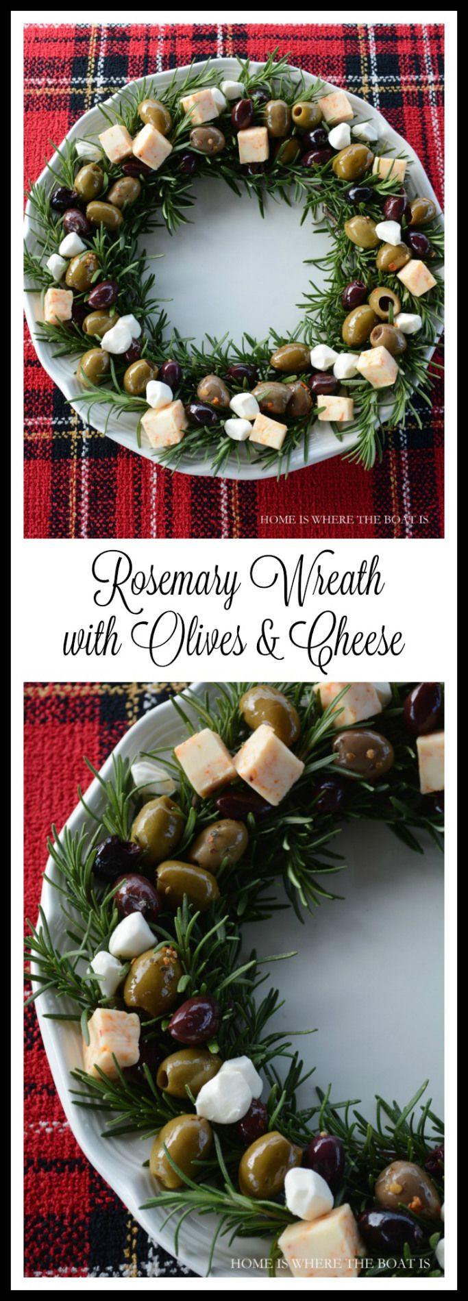 Rosemary Wreath with Olives & Cheese! A festive and easy appetizer for holiday entertaining! | homeiswheretheboatis.net #Christmas #easy #appetizer
