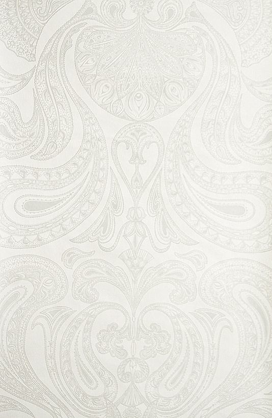 Special Malabar Wallpaper Intricate silver grey paisley design printed on white wallpaper.