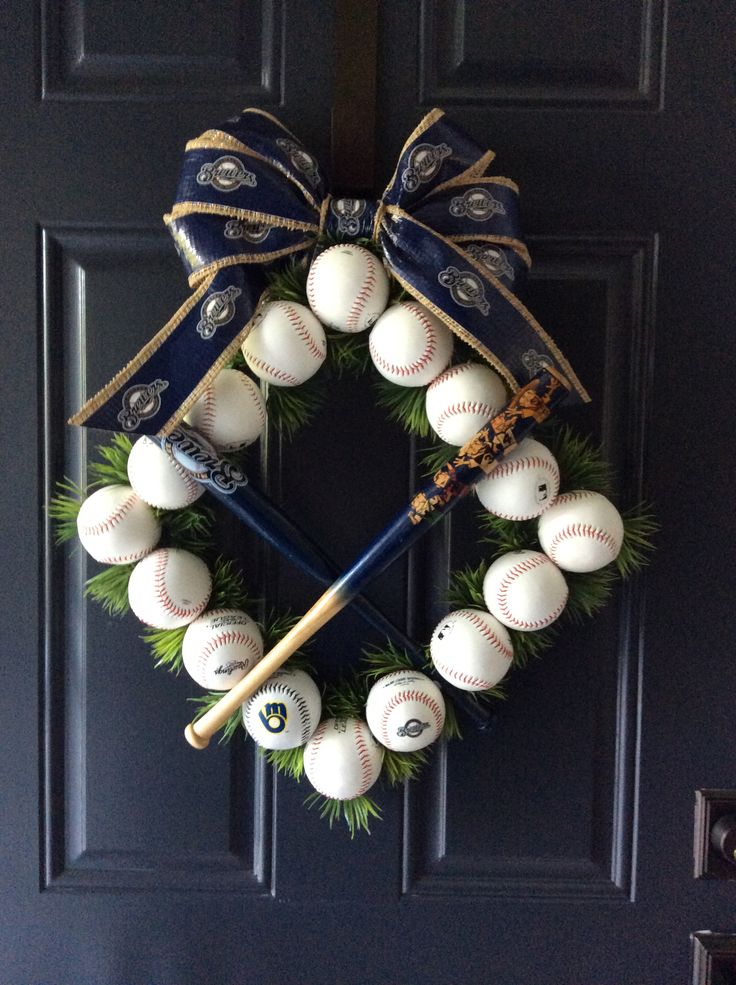 Baseball theme front door decoration.  Go Brewers!