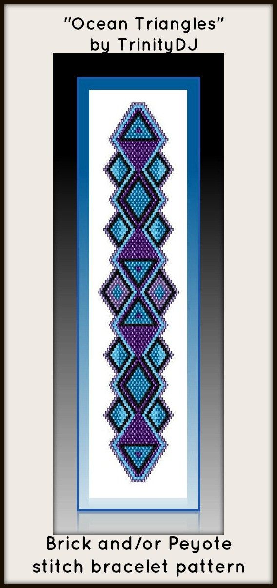 BP-BR-003 - Ocean Triangles - In The RAW - Brick stitch bracelet pattern