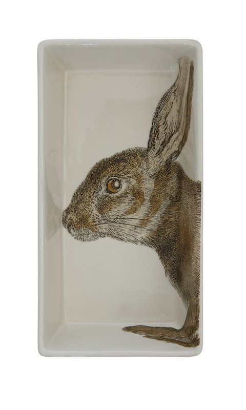 Collected Notion Stoneware Rabbit Decal Decorative Plate