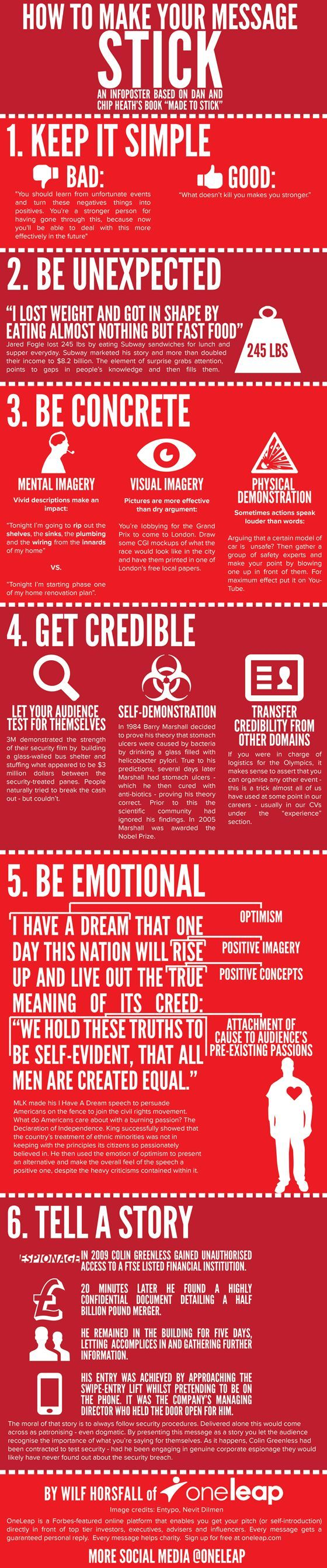 "7 ways to make an impression - infographic inspired by Chip & Dan Heath' ""Made to Stick"""