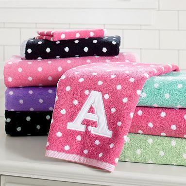 Dottie Applique Bath Towels #PBDorm #PotteryBarn Dorm