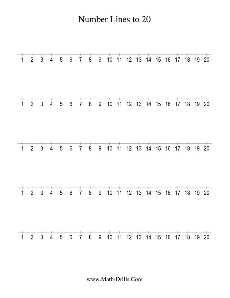 The Number Line To 20 Counting By 1 1 Math Worksheet From The Number Sense Worksheets Page At Math Drills C Number Line Touch Math Worksheets Math Worksheets