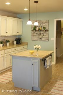 Benjamin Moore 'Wythe Blue' rocks this kitchen! Check out the before and after!