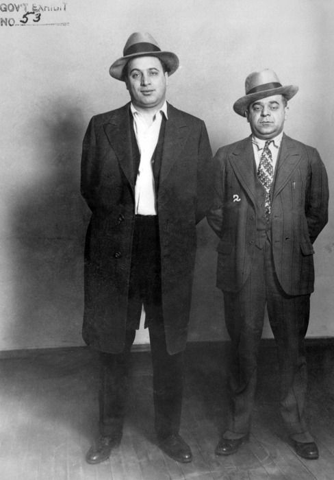 Al's brother, Ralph Capone (left) and Anthony Aresso, two members of Capone's gang, c. 1930s.