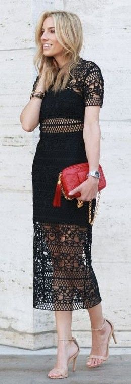 Black Crochet Lace Dress                                                                             Source