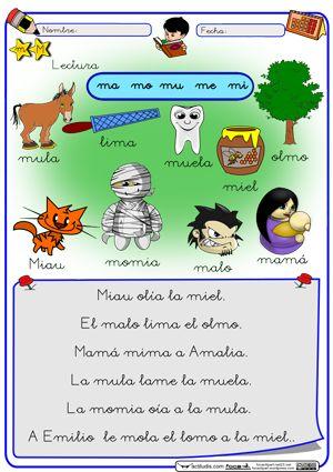 APRENDER ES DIVERTIDO 1º Y 2º: Fichas para trabajar el fonema M.