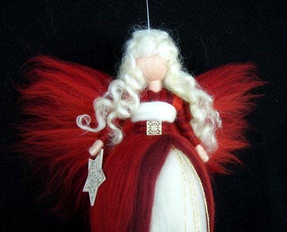 Needle Felted Wool Fairy Christmas Angel XMAS von Holichsmir