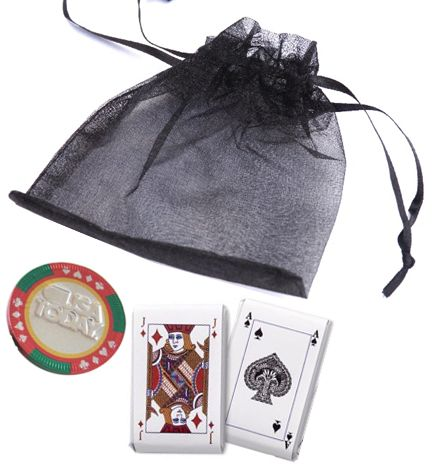 3pc. Chocolate Playing Cards & Casino Chip Organza Bag