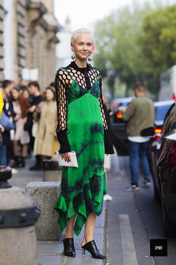 Streetstyle of Olga Karput wearing Vêtements shoes during Paris Fashion Fashion Week Spring Summer 2017