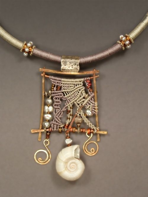 Metal work combined with micro macrame. Fantastic!