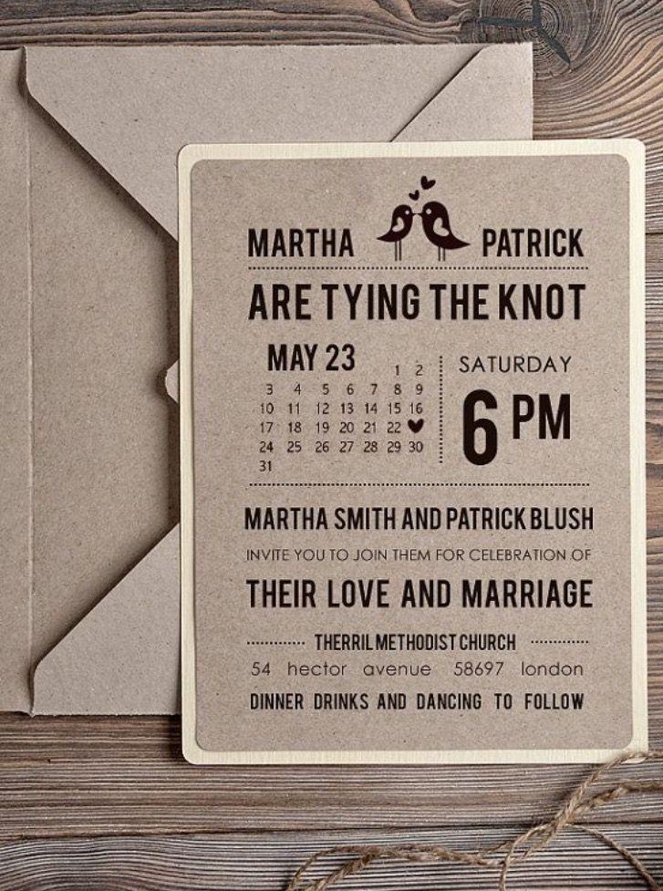 Rustic Wedding Invitation Recycling Eco Invitation Birds