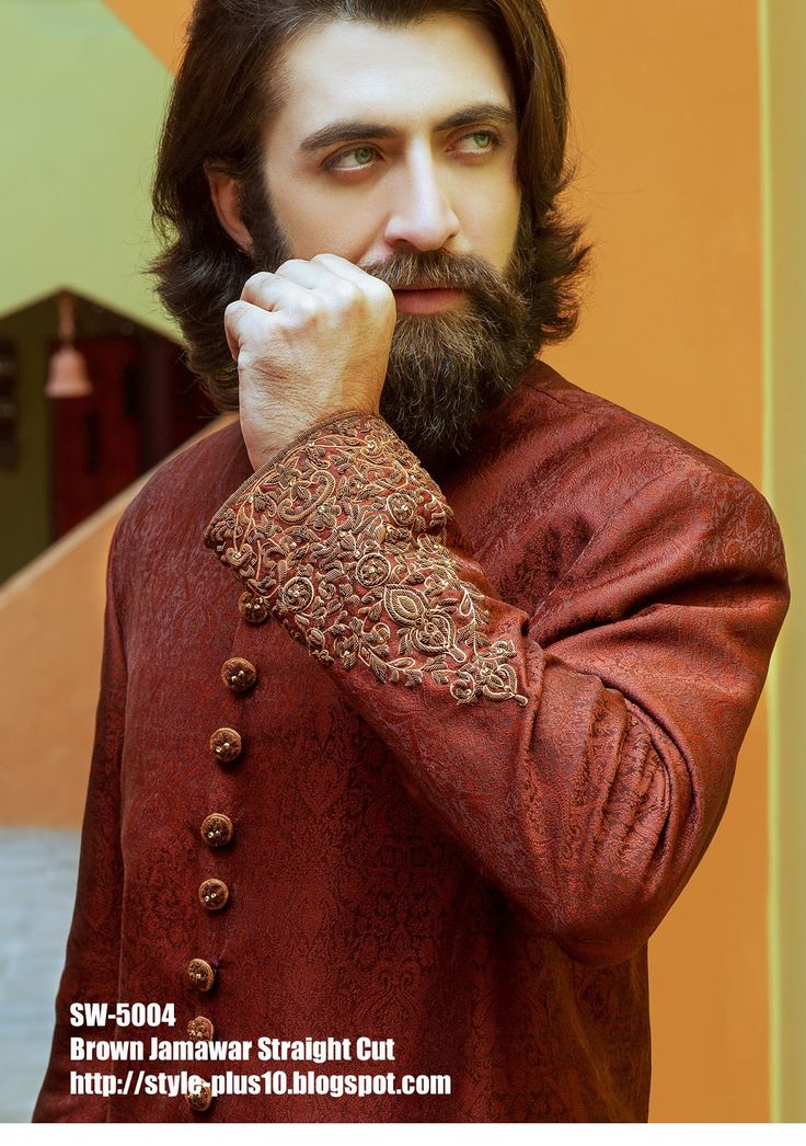 Brown Jamawar Straight Cut Sherwani by Amir Adnan