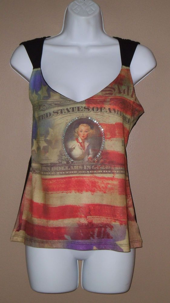 Womens Large Sleeveless American Flag Graphic Faux Rhinestone Tank Top Shirt  #WesternEthics #TankCami #Versatile