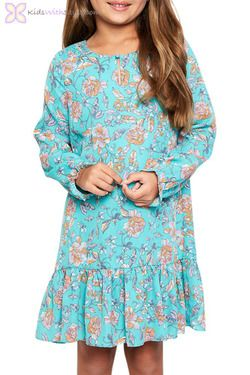 Mint Floral Flounce Dress  #girlsclothes #girlsfashion #girlsdresses #girlsfallfashion #girlswinterfashion #girlsfallclothes #girlswinterclothes #girlsfalldresses #girlswinterdresses