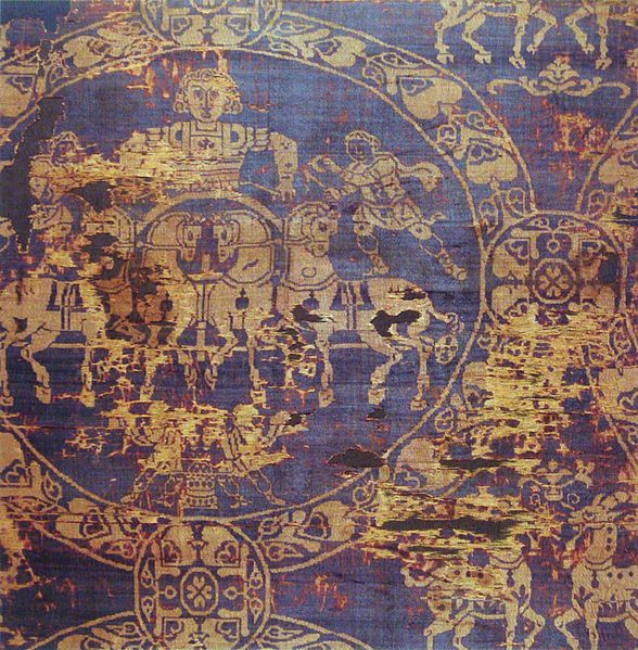Burial Shroud of Emperor Charlemagne, 814 CE. Tyrian purple dye from Constantinople, also known as royal or imperial purple, from the Murex sea snail. Possibly first used by the Phoenicians as early as 1600 BCE. Greatly prized for its fade-resistance, brighting with use. Twelve thousand snails yielded only .05 ounces of dye. The sack of Constantinople in 1204 ended the use of this expensive dye in the west and royalty turned to vermillion. Paris, Musée National du Moyen Âge.