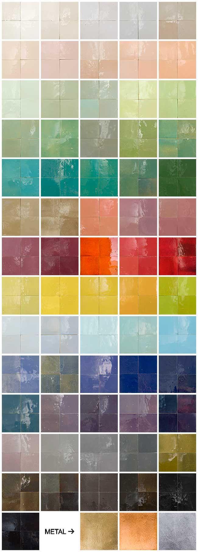 Traditionele kleuren en 3 kleuren metalen Zellige