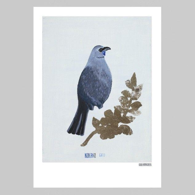 Kokako print - Guy Harkness