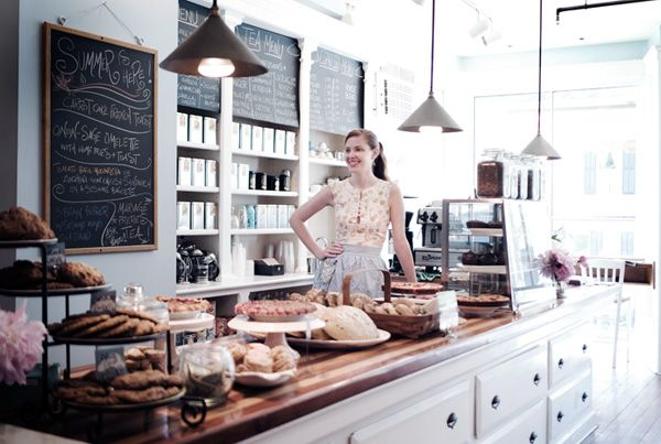 beautiful cafe and bakery in New York. This is just what I'd want mine to look like.....someday.....