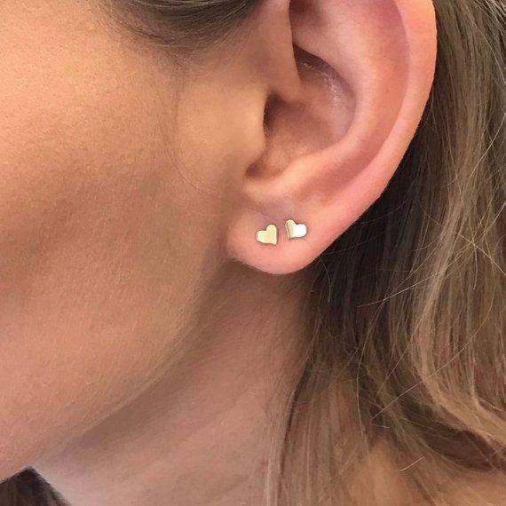 9K SOLID YELLOW GOLD HEART CUT EMERALD STUDS EARRINGS!