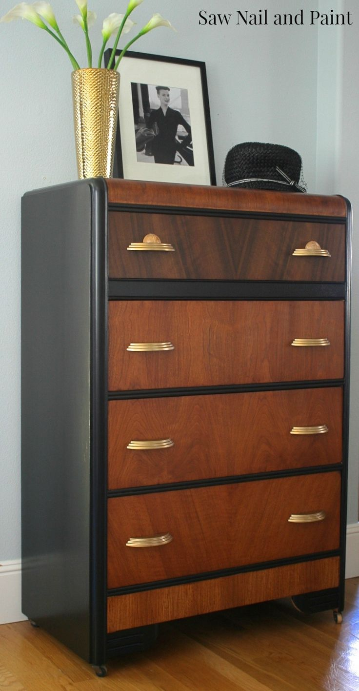 Beautiful Waterfall dresser painted with Lamp Black.