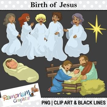 50% OFF till 1.12.14 AEST!!! This set depicts Mary, Joseph and the angels rejoicing at the birth of Jesus. Each image is PNG and 300dpi in Black & White, colored with colored outlines and colored with black outlines