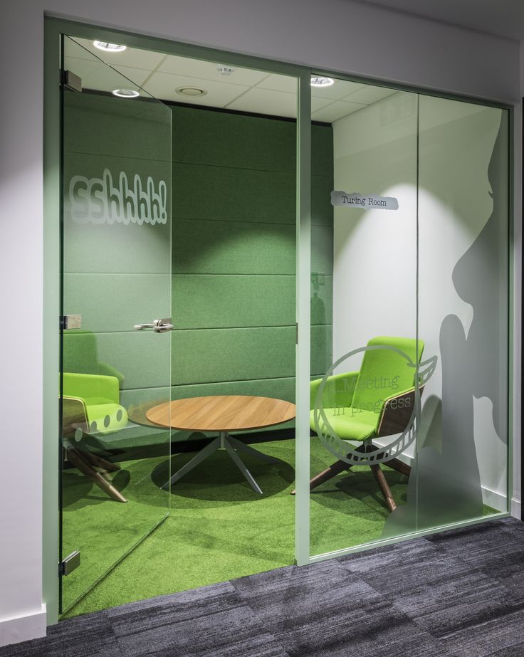 "Meeting Rooms >> Quiet Meeting Space >> We love this tranquil meeting space at the Hut Group. Named after great mind Alan Turing, this meeting room is clearly designed for quiet meetings with playful silhouette graphics and ""ssshhh"" signs on the door. Practically speaking, this quiet meeting room has been fitted out with green acoustic panelling on the wall which compliments the green carpet and lime green meeting chairs. See more of this UK office build on our website:"