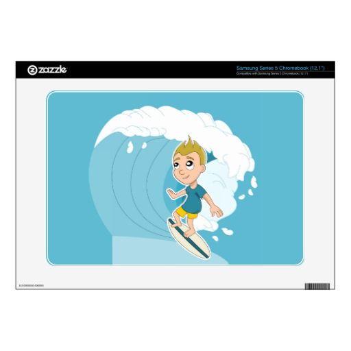 Surfing boy cartoon Samsung skin Samsung Chromebook Decals