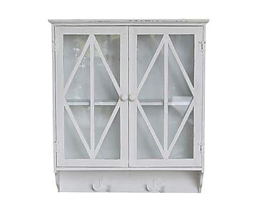 Подвесной шкаф для посуды с дверцами - дерево - белый, 53х14х61 см