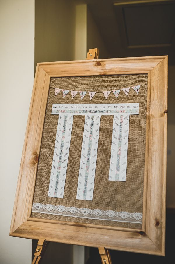 Magical Crafty Outdoorsy Village Hall Wedding Hessian Bunting Frame Table Plan http://www.foxleyphotography.com/