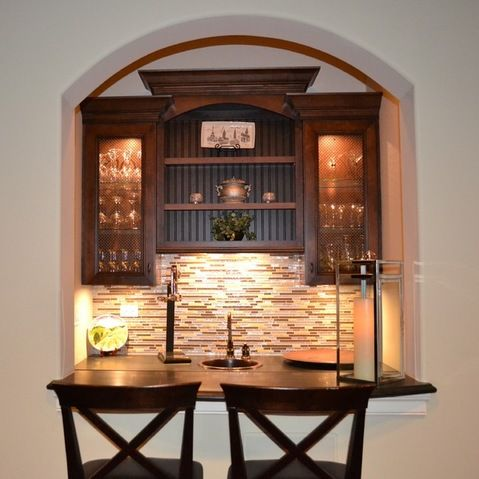 Wine Cellar Design Ideas, Pictures, Remodels And Decor   Staggered Cabinets  With Molding · Home Bar ...