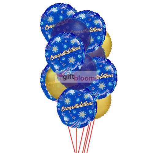 Congratulations Balloons  The best way to say congratulations will be by sending this congrates Balloons which will make the enjoyment double. 6 Mylar & 6 Latex Balloons deliver in this arrangment.