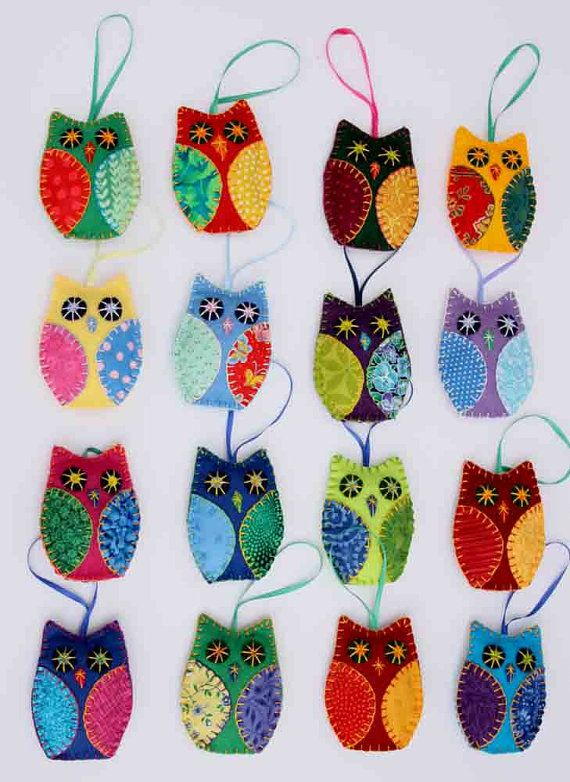 Patchwork owl ornaments Set of 3 hanging felt by PuffinPatchwork