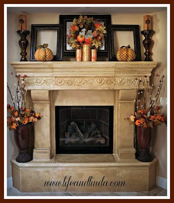 Fall mantle decor  *love the fireplace...decor is nice too