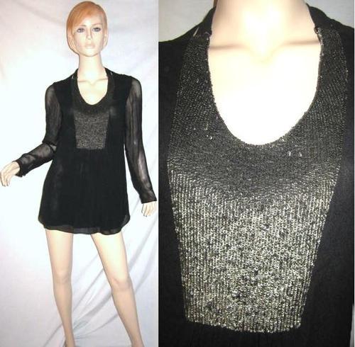 ROHIT GANDHI + RAHUL KHANNA 100% Silk Chiffon Metal Sequin Tunic Top S