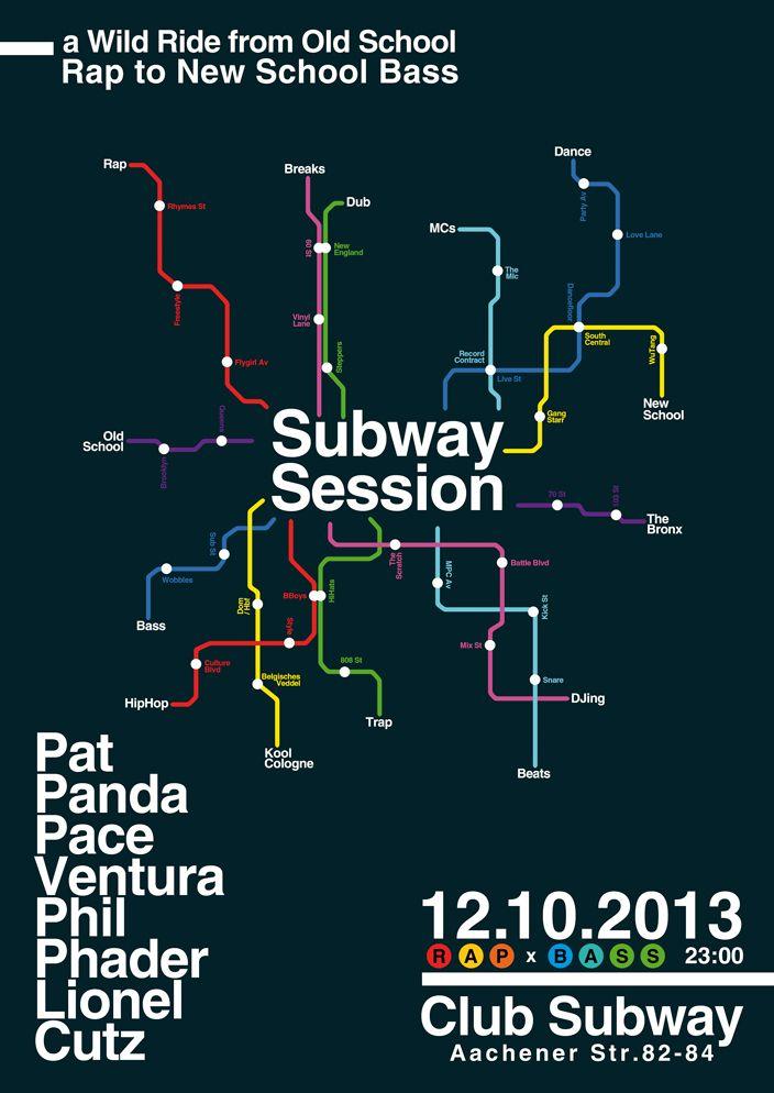 SUBWAY SESSION  DJs: ✖ PAT PANDA [Revolte!//Pump] ✖ PACE VENTURA [Kopfnicker//Trap CLGN] ✖ PHIL PHADER [Bass:is'm//Lichtblick] ✖ LIONEL CUTZ [Revolte!//Pump] Sound: RAP ✖ BASS Samstag, 12.10.2013 Club Subway, Aachener Straße 82-84, Köln Einlass: 23:00 // Eintritt: 6 Euro