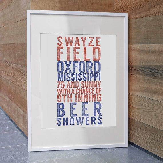 Ole Miss Baseball Inspired Print / Swayze Field / Ole Miss Rebels