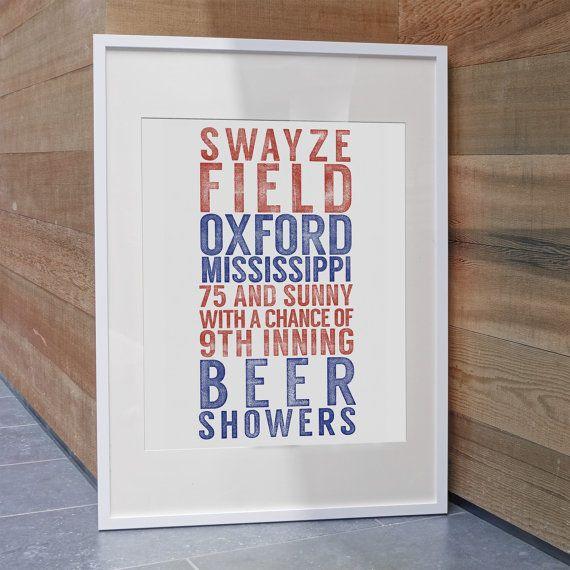 Ole Miss Baseball Inspired Print / Swayze Field / Ole Miss Rebels
