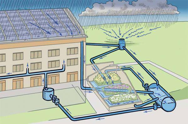 Inspiratie: schets voor verzamelen en hergebruik van regenwater.