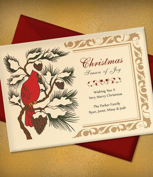 Elegant red cardinal #Christmas party invitation. Print at home with the downloadable template!
