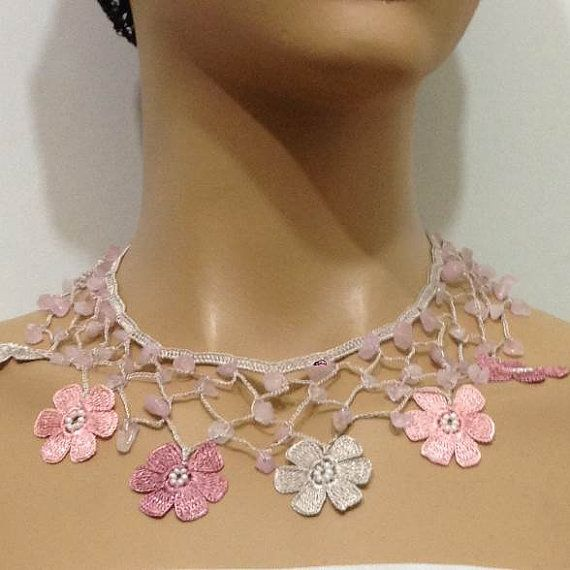 Blush Pink and Grey Choker Necklace with Crocheted by istanbuloya
