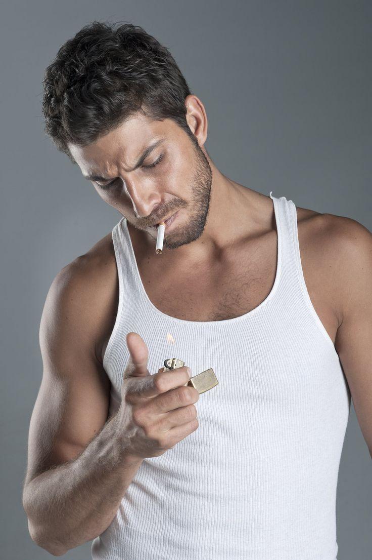 hot man model smoke