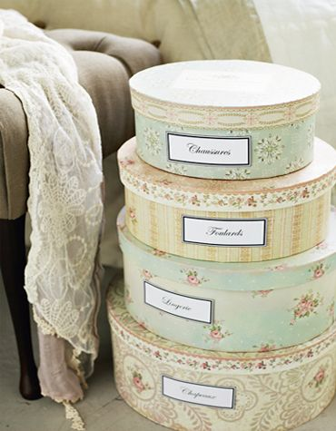 beautiful hat boxes - could paint delicate floral design or try covering the with fabric...lovely idea...